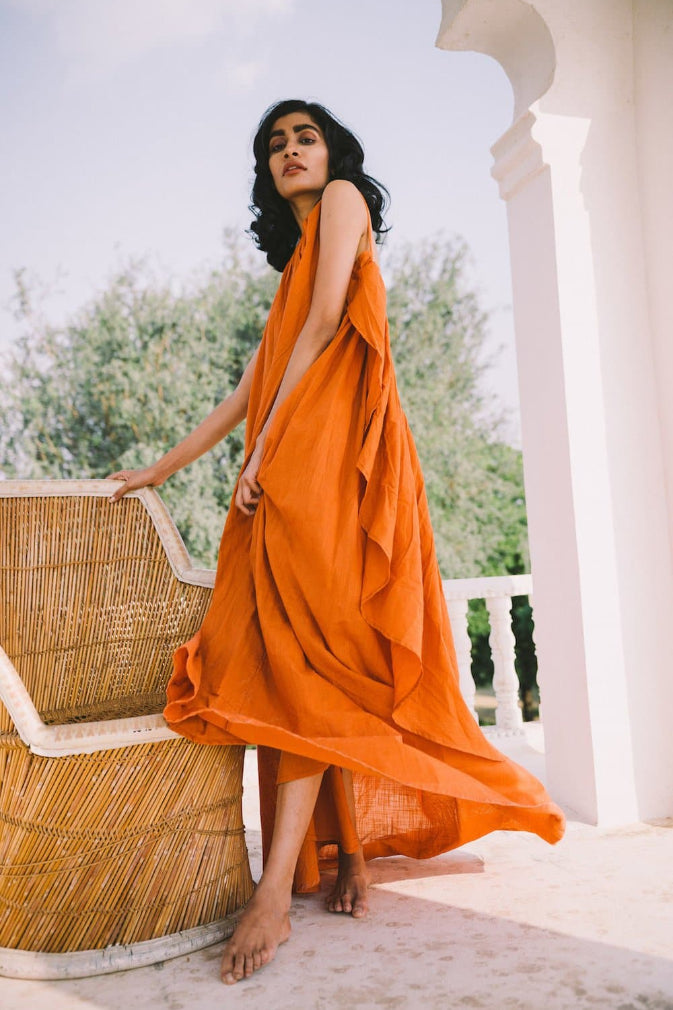 Syros Handmade Matka Silk Dress in Orange