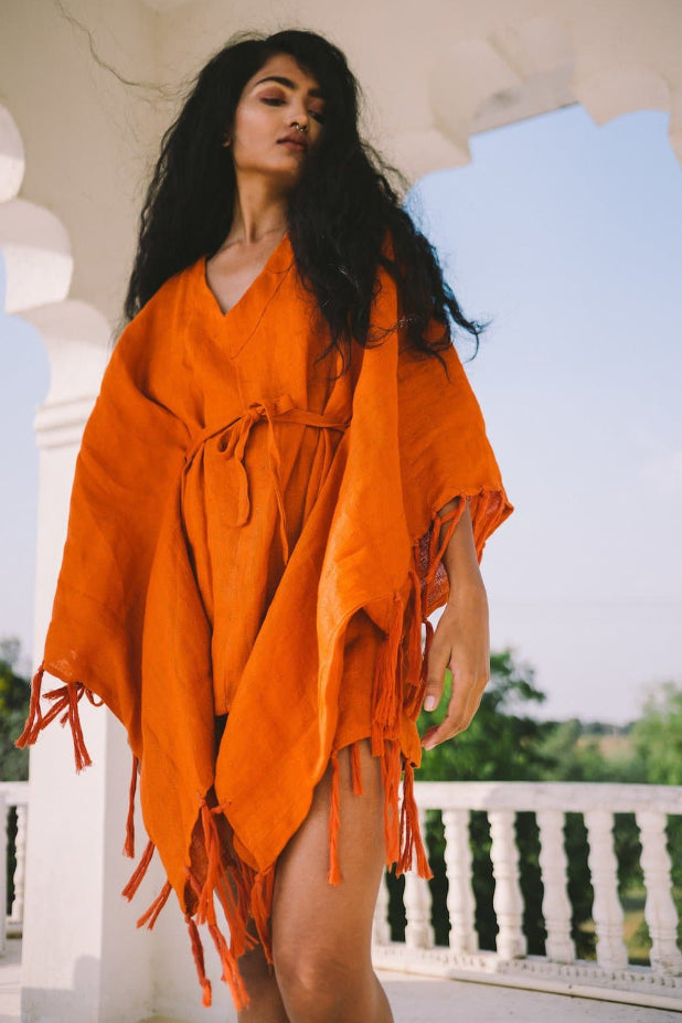 Ithaca Handwoven Linen Cover-up Kaftan in Orange