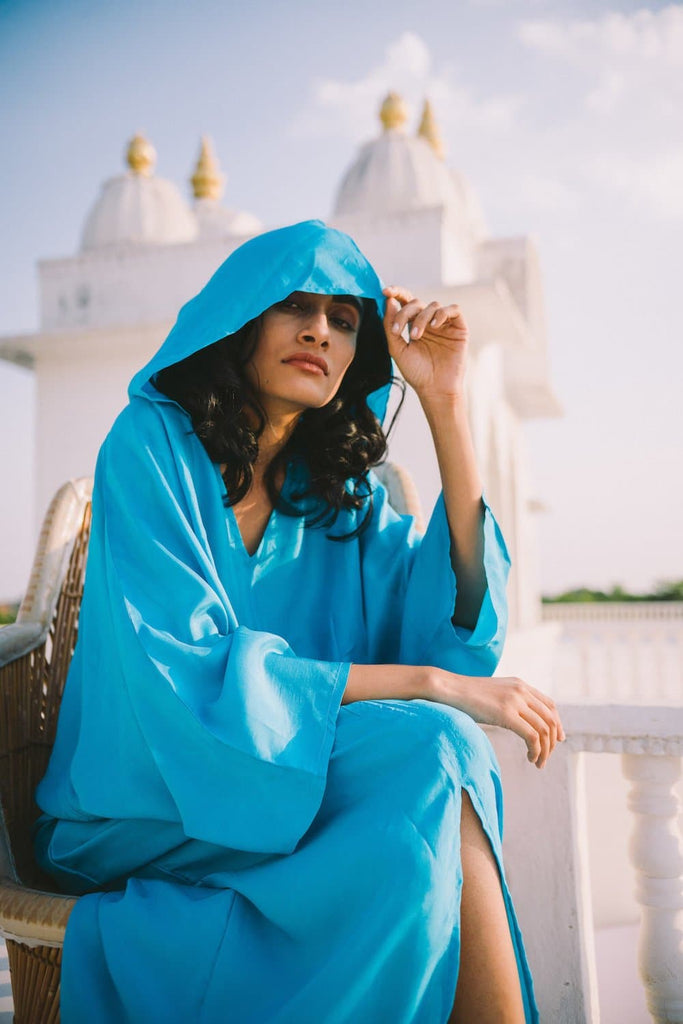 Essaouira Organic Peace Silk Kaftan in Blue