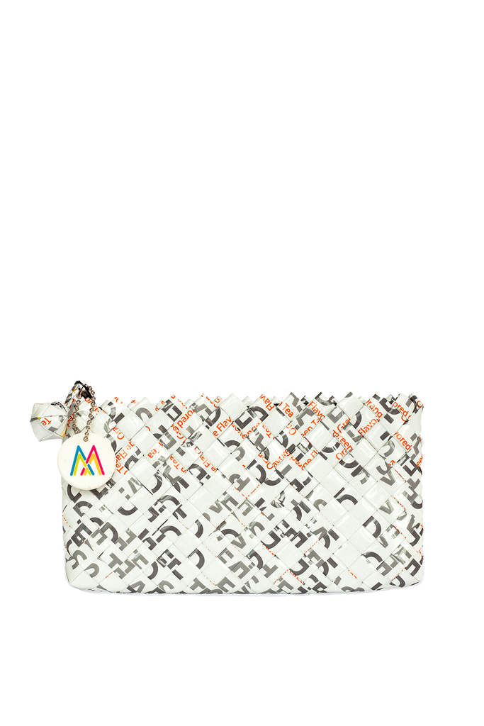 White Mini Woven Clutch