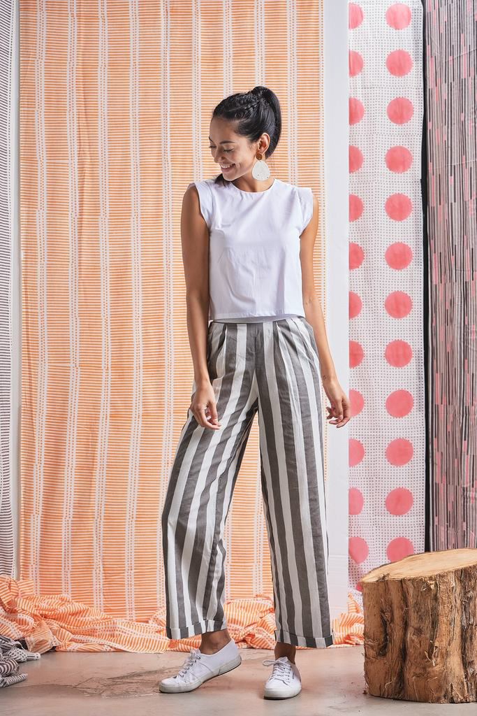 Yaatra Organic Cotton Wide-legged Trousers in Gray