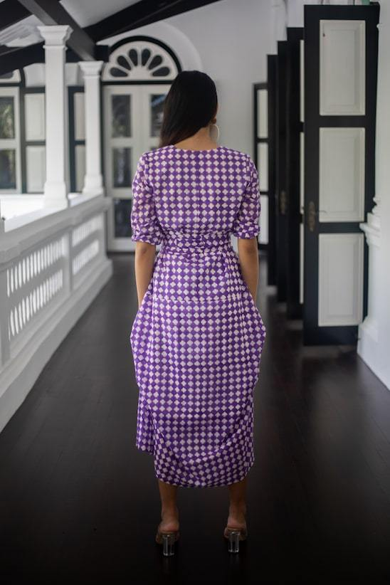 Zebra Organic Cotton Maxi Dress in Purple