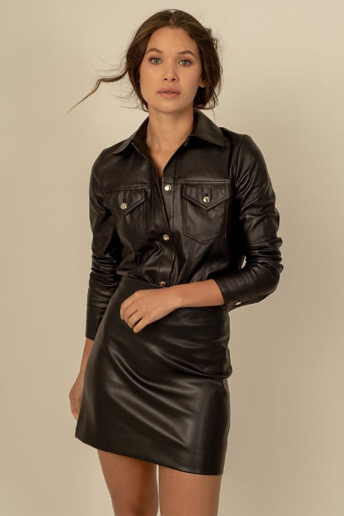 Alexis Vegan Faux Leather Jacket in Black