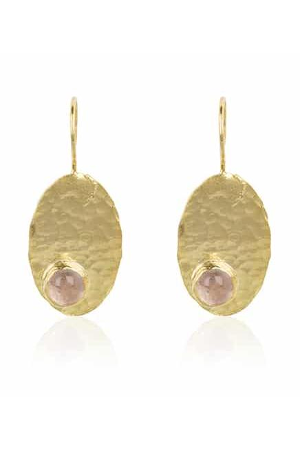 By Noon Handmade Gold-Plated Silver Rose Chalcedony Earrings