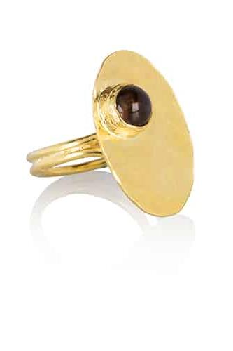 By Noon Handmade Gold-Plated Silver Rose Chalcedony Ring
