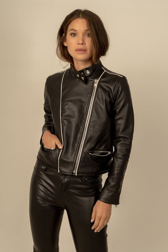 Anna Biker Vegan Faux Leather Jacket in Black