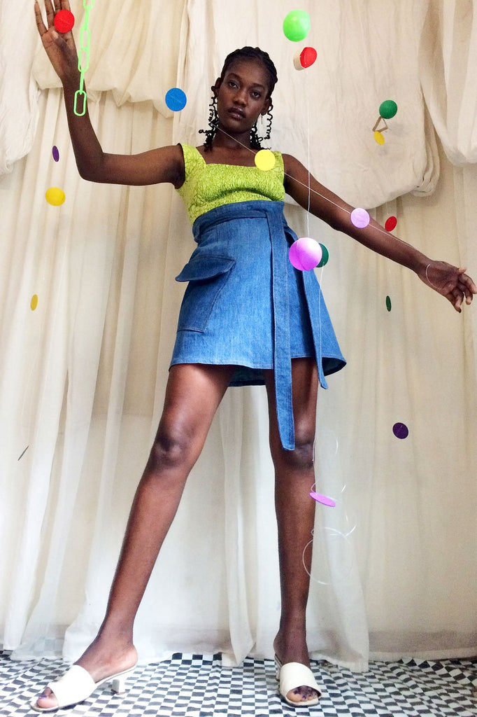 Cargo Upcycled Cotton Wrap Skirt in Blue Denim