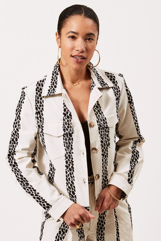 Sustainable Cotton Jacket in Cream with Leopard Stripe