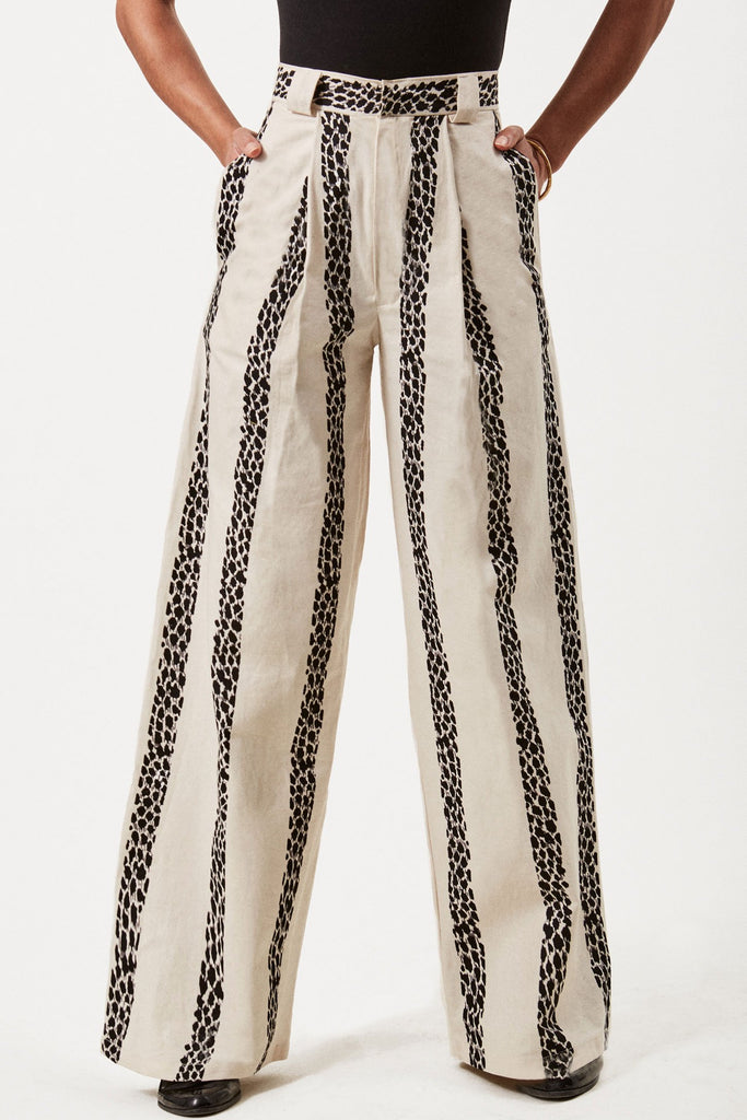 Sustainable Cotton Wide Leg Trousers in Cream with Leopard Stripe