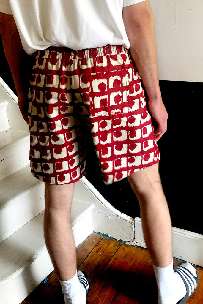 Unisex Sustainable Cotton Shorts in Red & Cream Print