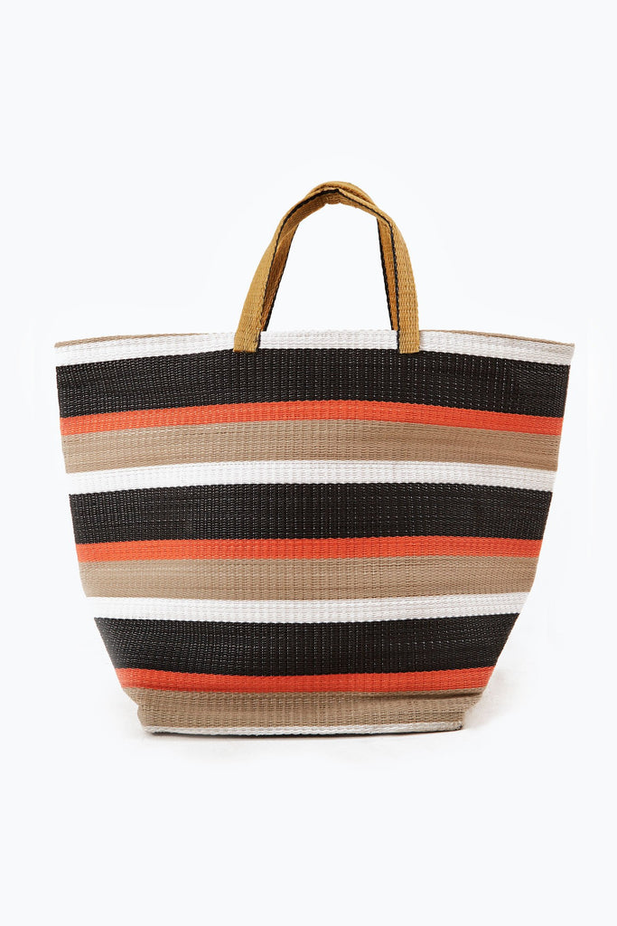 Large Shopper Upcycled Plastic Bag in Brown & Black & White & Orange Stripe