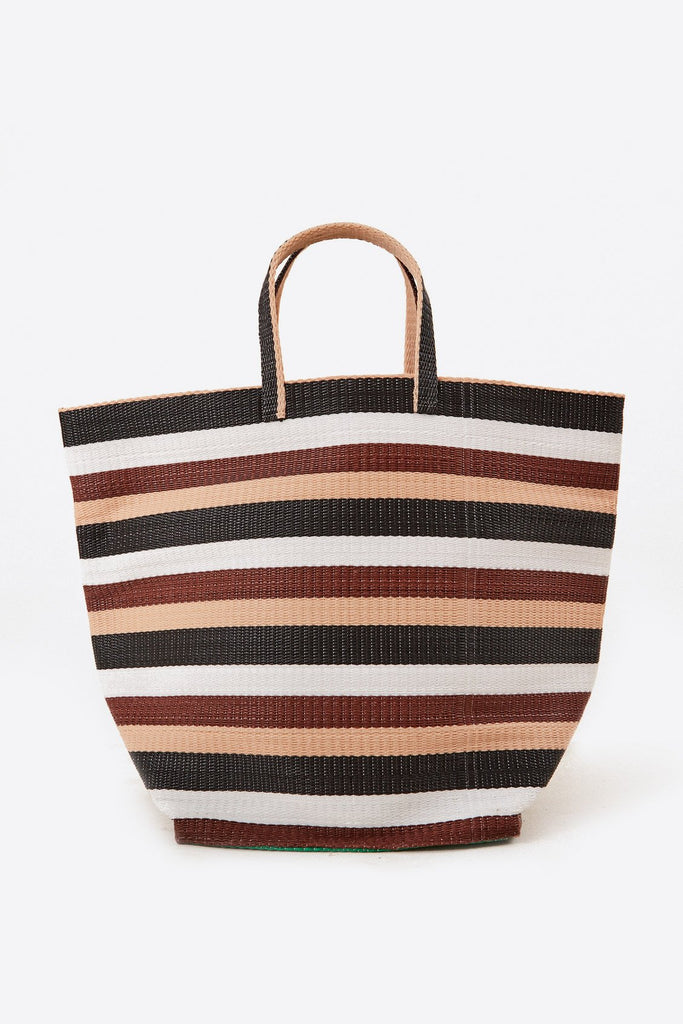 Large Shopper Upcycled Plastic Bag in Brown & Black & White Stripe
