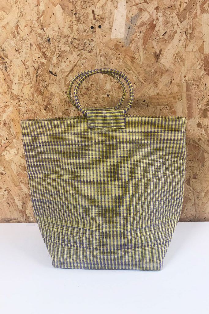 Medium Shopper Upcycled Plastic Bag in Purple & Yellow