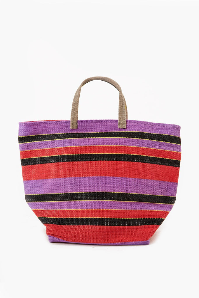 Large Shopper Upcycled Plastic Bag in Purple & Black & Red Stripe