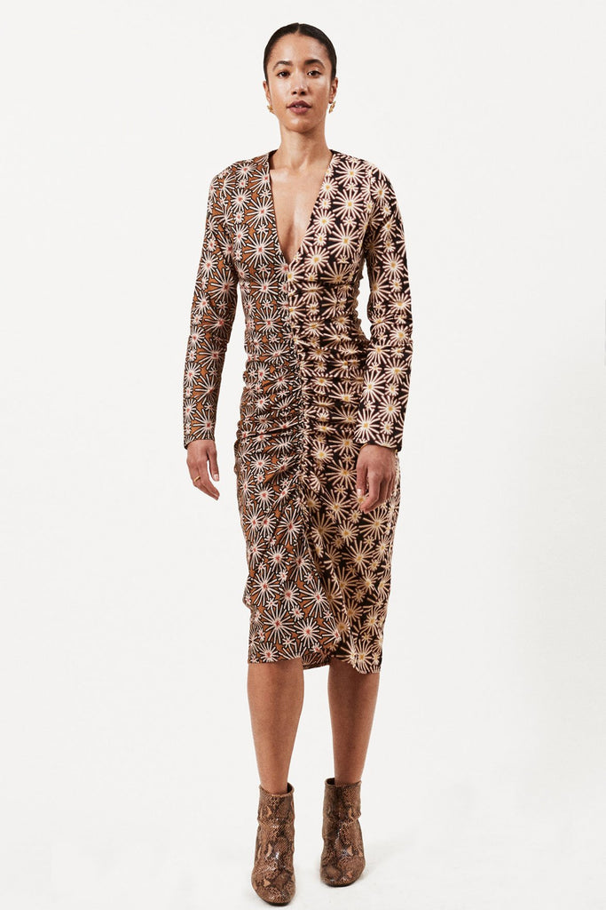 Draw Sustainable Cotton Dress in Brown & Black Print