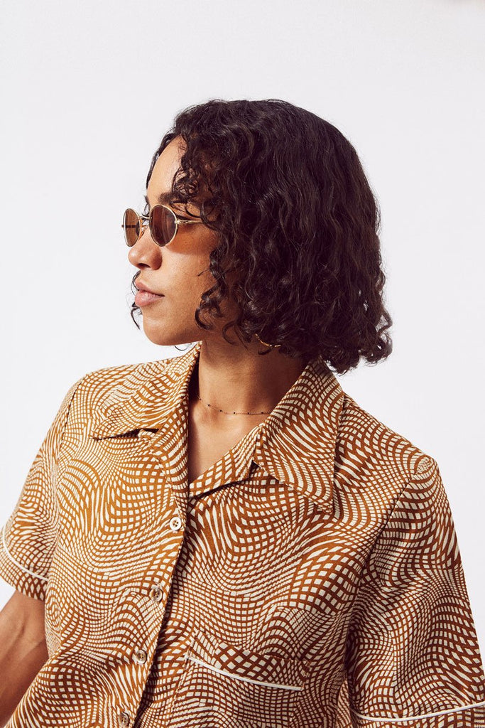 Button Up Sustainable Cotton Shirt in Brown & White Print