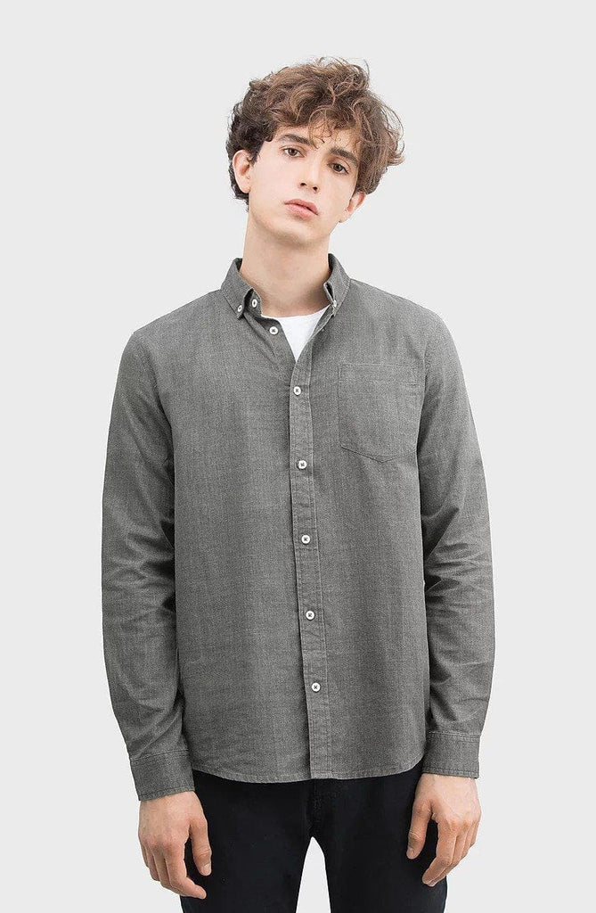 Button Up Ethical Poplin Shirt in Charcoal