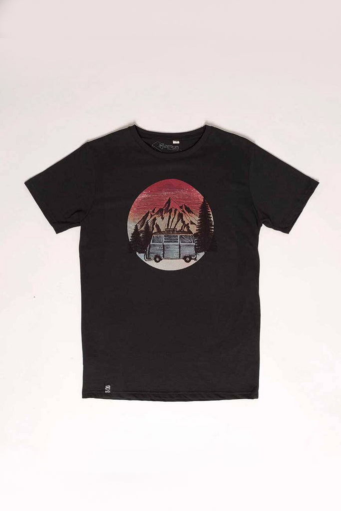 Bus by Zerum Organic Cotton T-shirt in Black