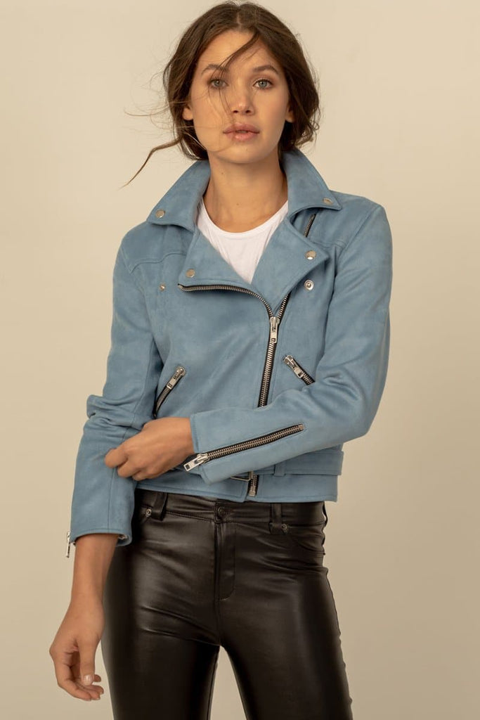 Mara Vegan Faux Leather Biker Jacket in Blue