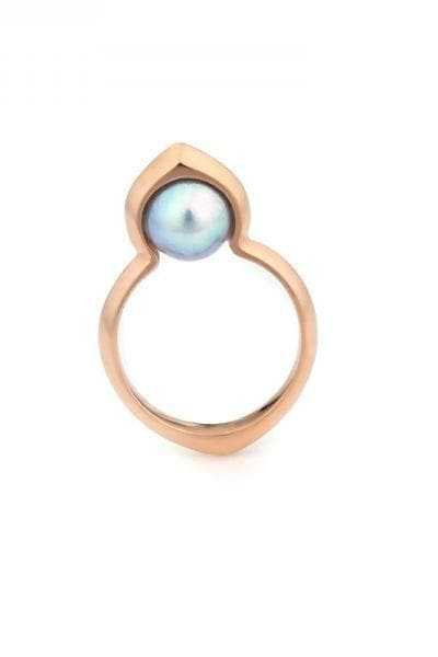 Cocochnik Recycled Rose Gold Plated Silver Ring - Gray Akoya Sea Pearl