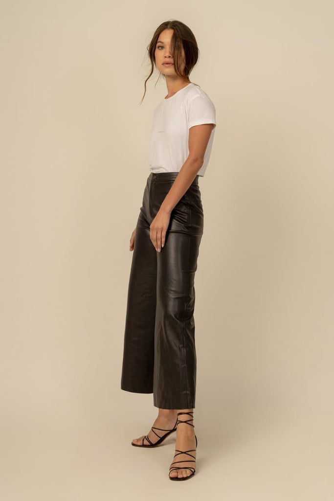 Nikole Vegan Faux Leather Culottes in Black