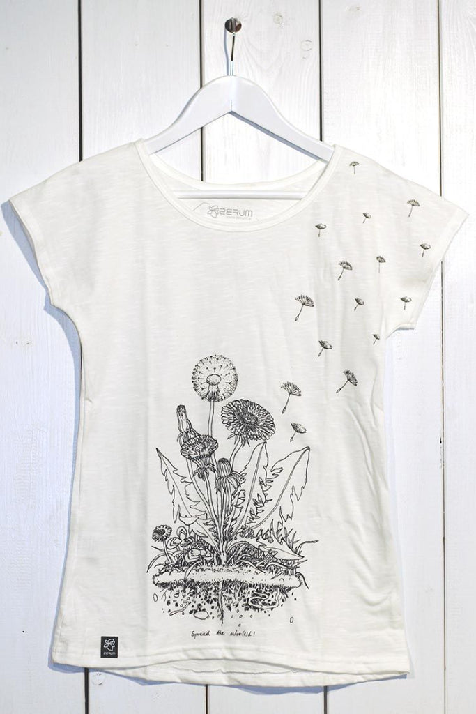 Lea - Dandelion by Zerum Organic Cotton T-shirt in White