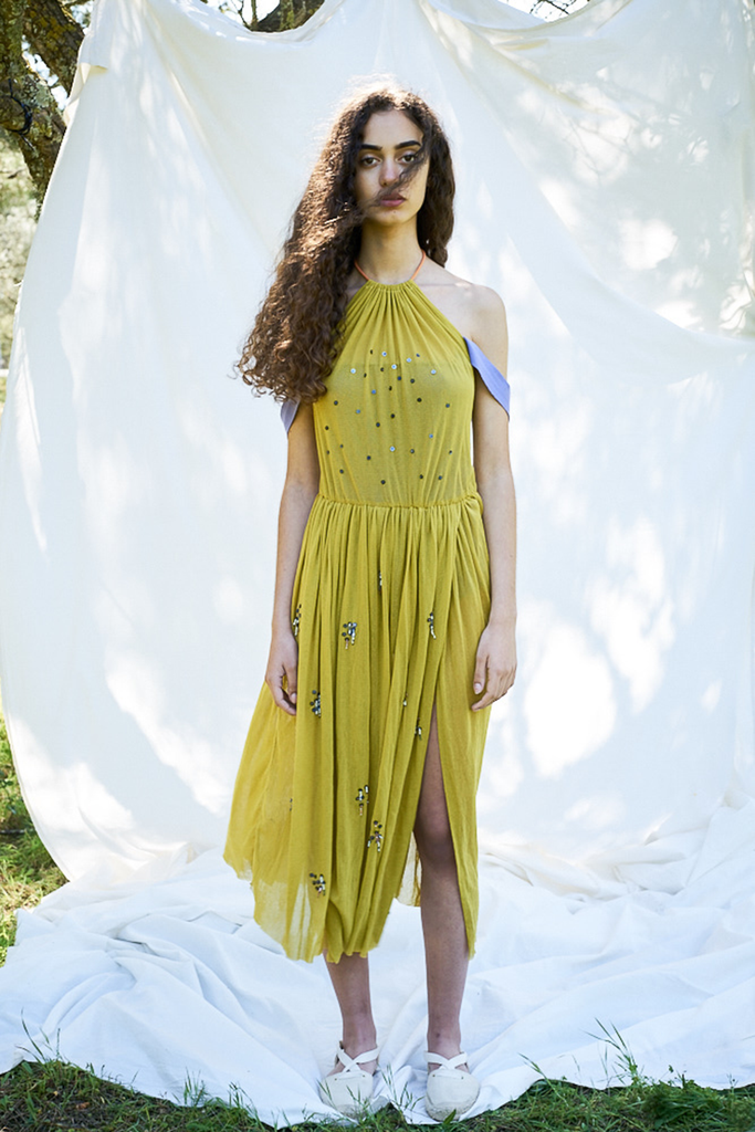 Elongate Organic Cotton Vegan Dress in Yellow