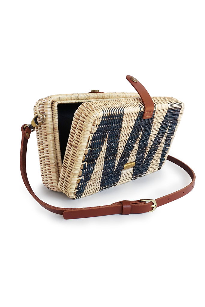 Syuti Geo Artisan Rattan Bag in Natural with Navy Blue Pattern, Brown Handle