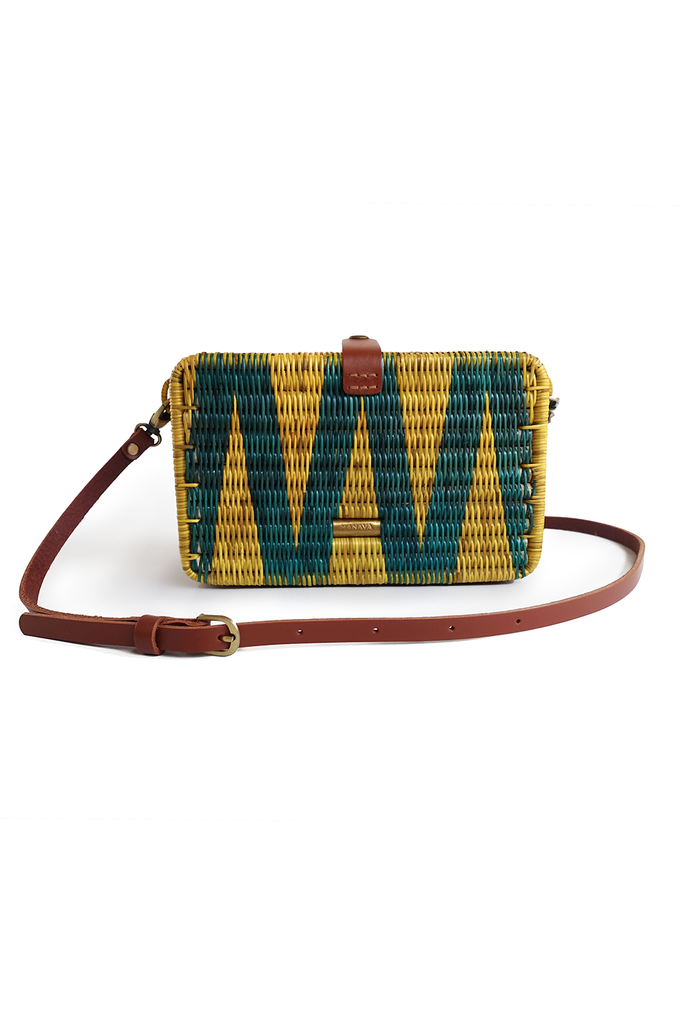 Syuti Geo Artisan Rattan Bag in Mustard Yellow with Pastel Dark Green Pattern, Brown Handle