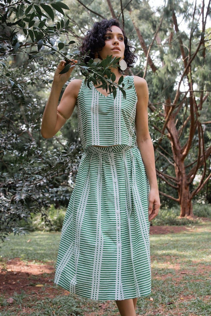 Hara Organic Cotton Top&Skirt Set in Tropical Green