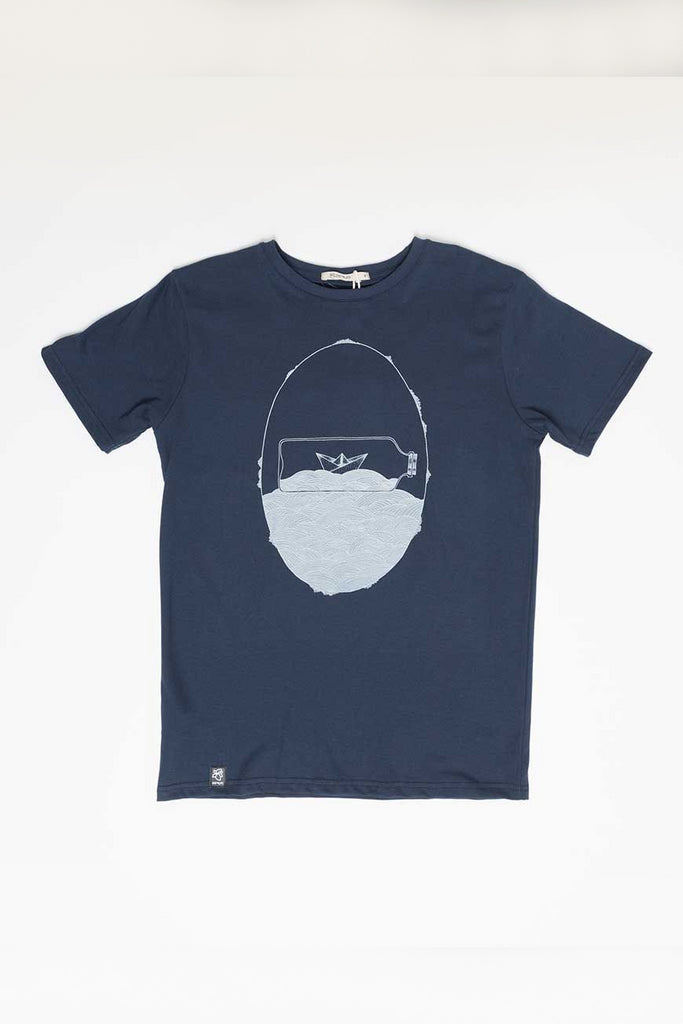 Bottle by Zerum Organic Cotton T-shirt in Blue
