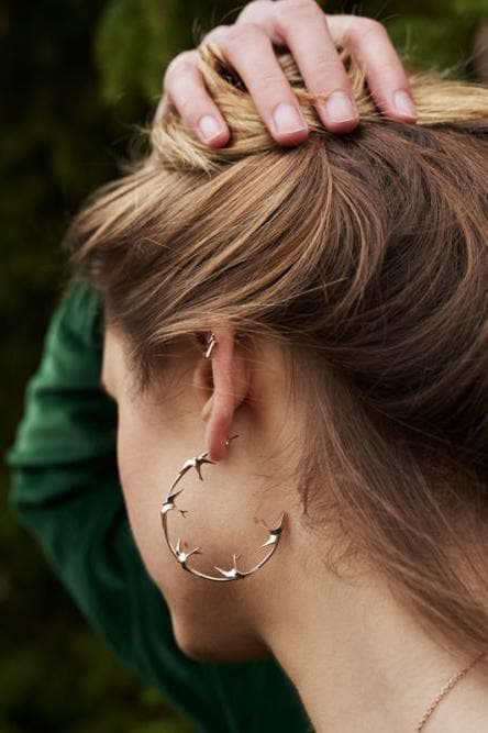 Freedom Recycled Rose Gold Plated Silver Hoop Earrings
