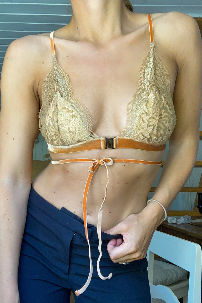 Firenze Recycled Polyamide Lace Bralette in Gold