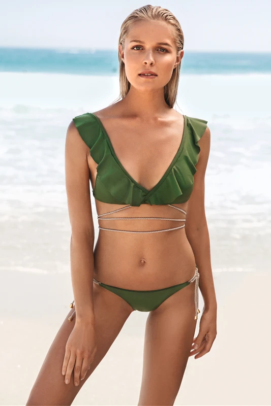 Cuba Libre Biodegradable Bikini Top in Green