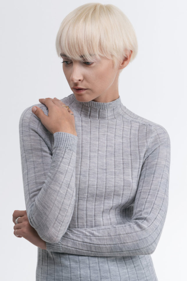 Rose Ethical Merino Wool Sweater in Gray