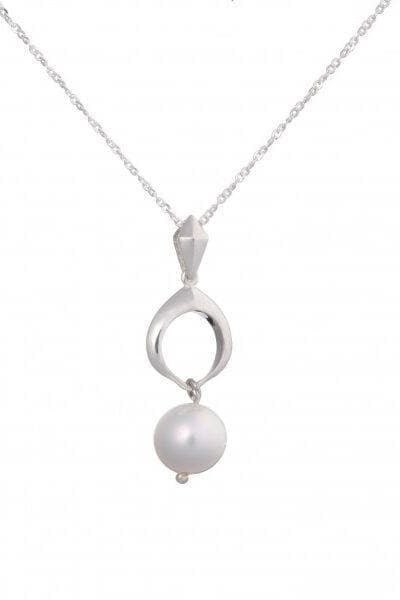 Cocochnik Recycled Silver Pendant - White Japanese Akoya Sea Pearl