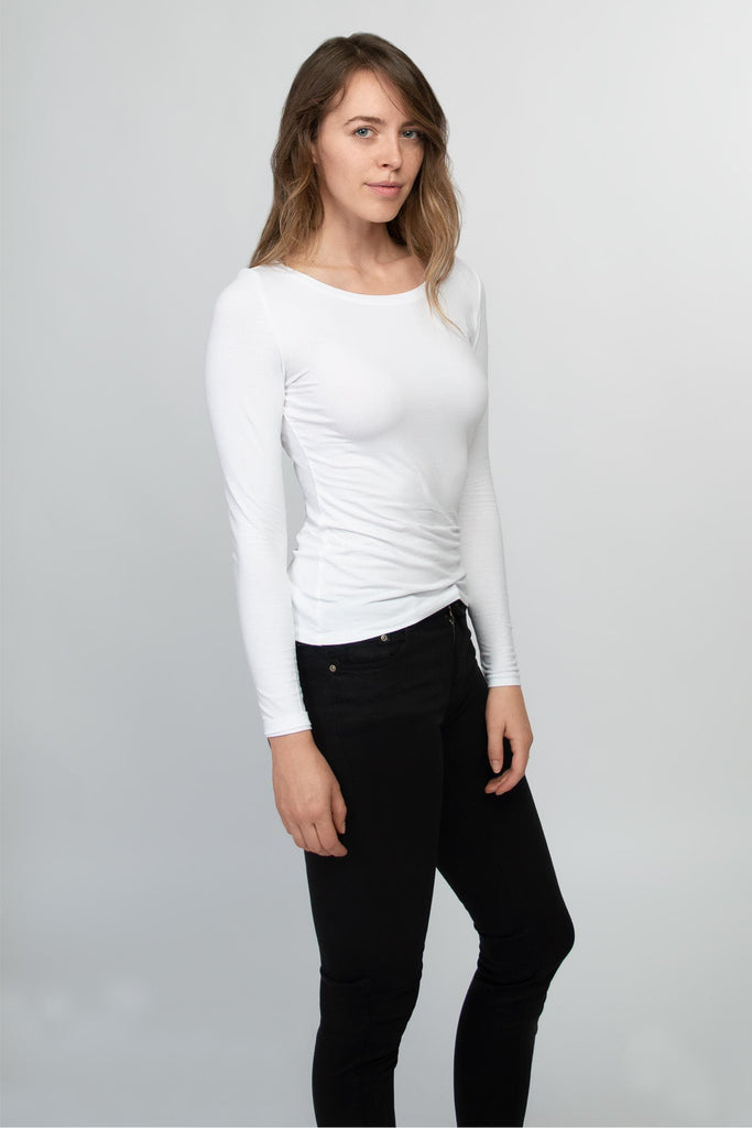sustainable-Long sleeve t-shirt women white-Honest Basics-Kool and Konscious