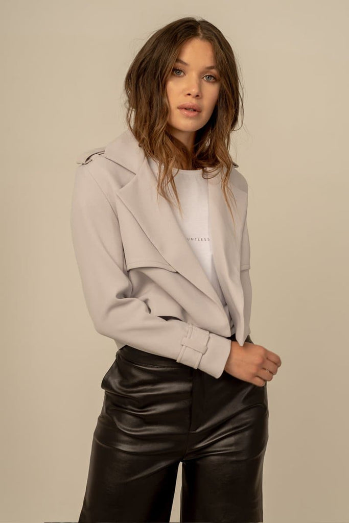 Magda Recycled Crepe Trench in Grey