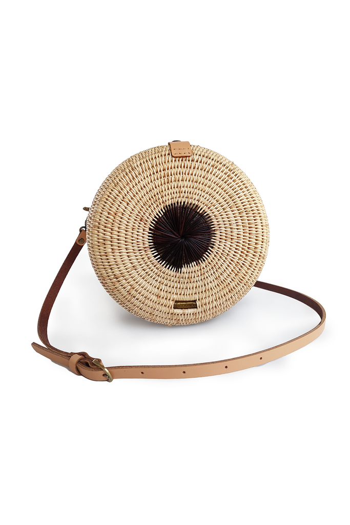 Mandala Artisan Rattan Crossbody Bag in Natural with Purple Burgundy, Brown Handel