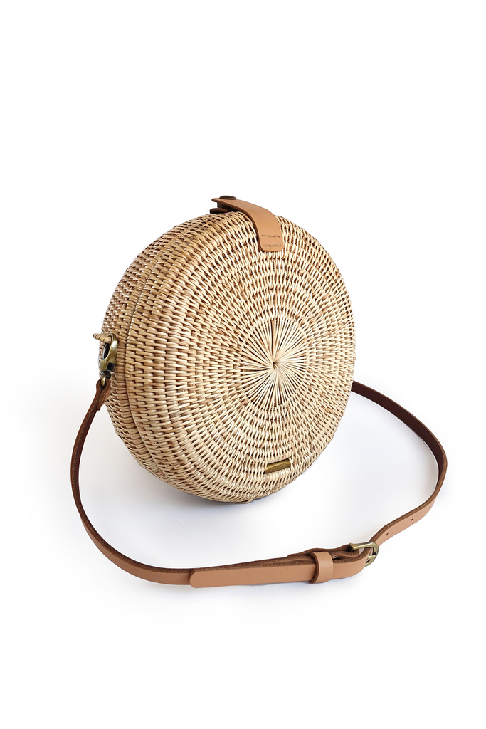 Mandala Artisan Rattan Crossbody Bag in Natural, Nude Handel