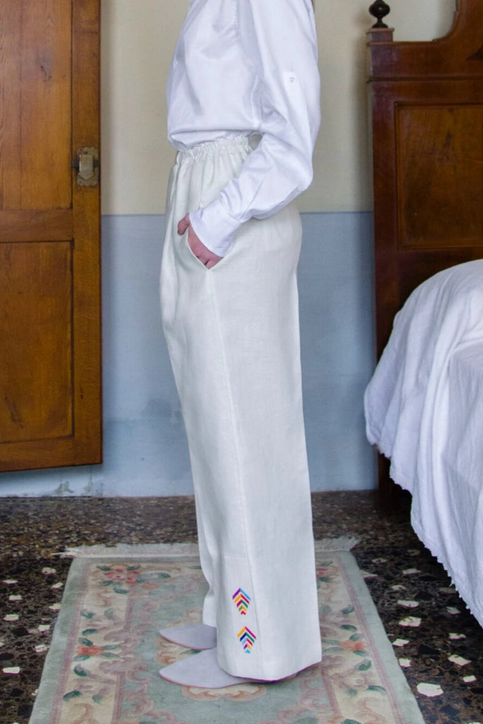 Jeanneret Palazzo Handmade Linen Trousers in White