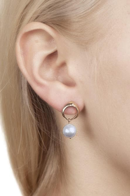 Cocochnik Recycled Rose Gold Plated Silver Earrings - Grey Akoya Sea Pearl