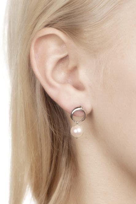 Cocochnik Recycled Silver Earrings - White Japanese Akoya Sea Pearl