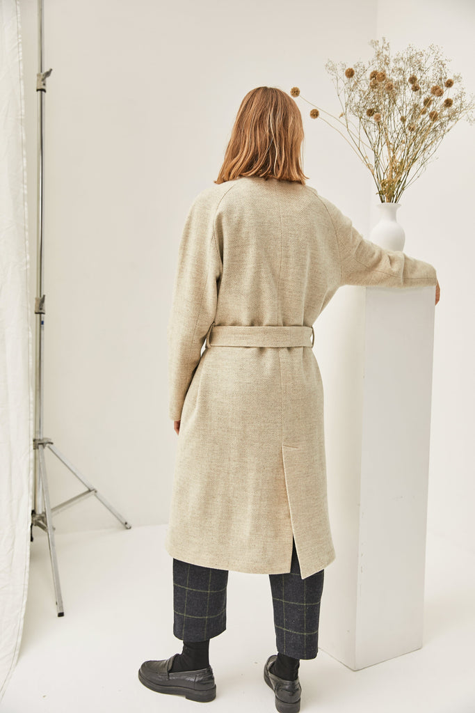 Varna Natural New Wool Coat in Chevron Cream