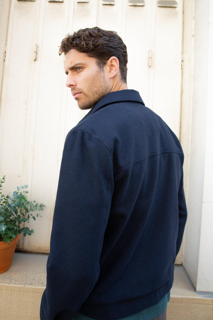 Ashford Recycled Woolen Cloth Jacket in Navy Blue