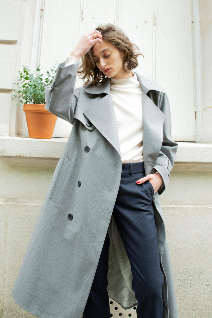 Vivian Recycled Wool Trench Coat in Grey