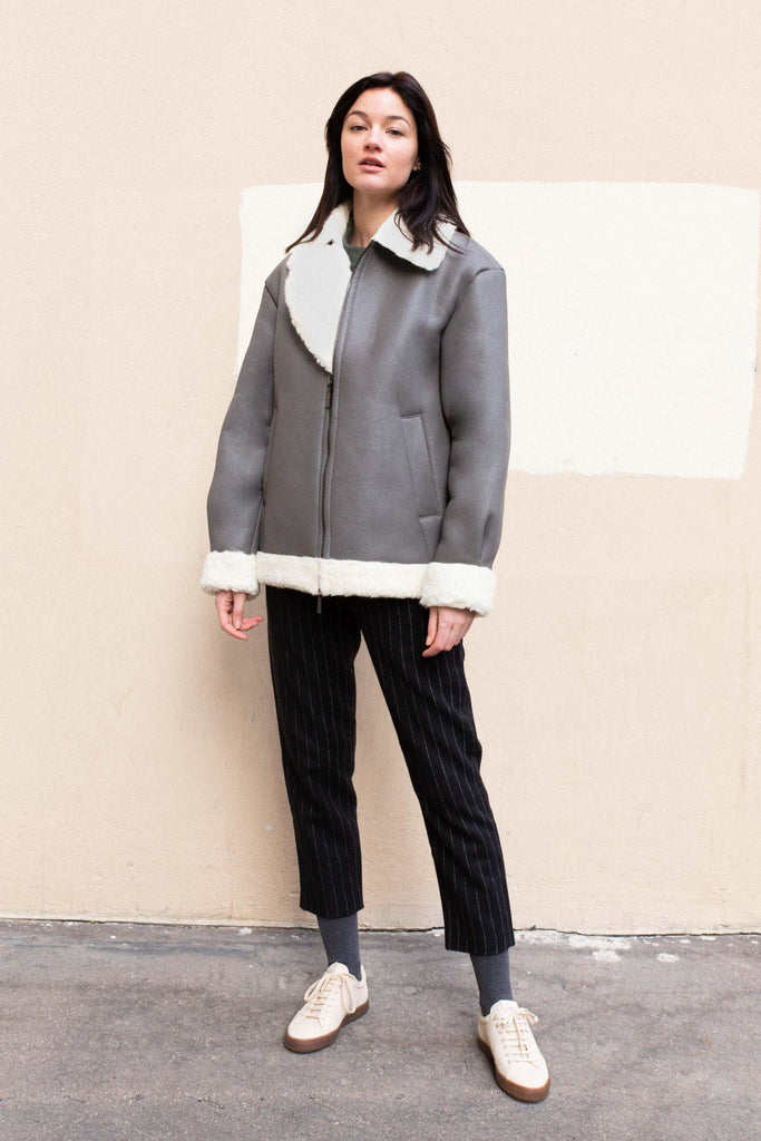 Astana Recycled Bomber Wool Coat in Grey