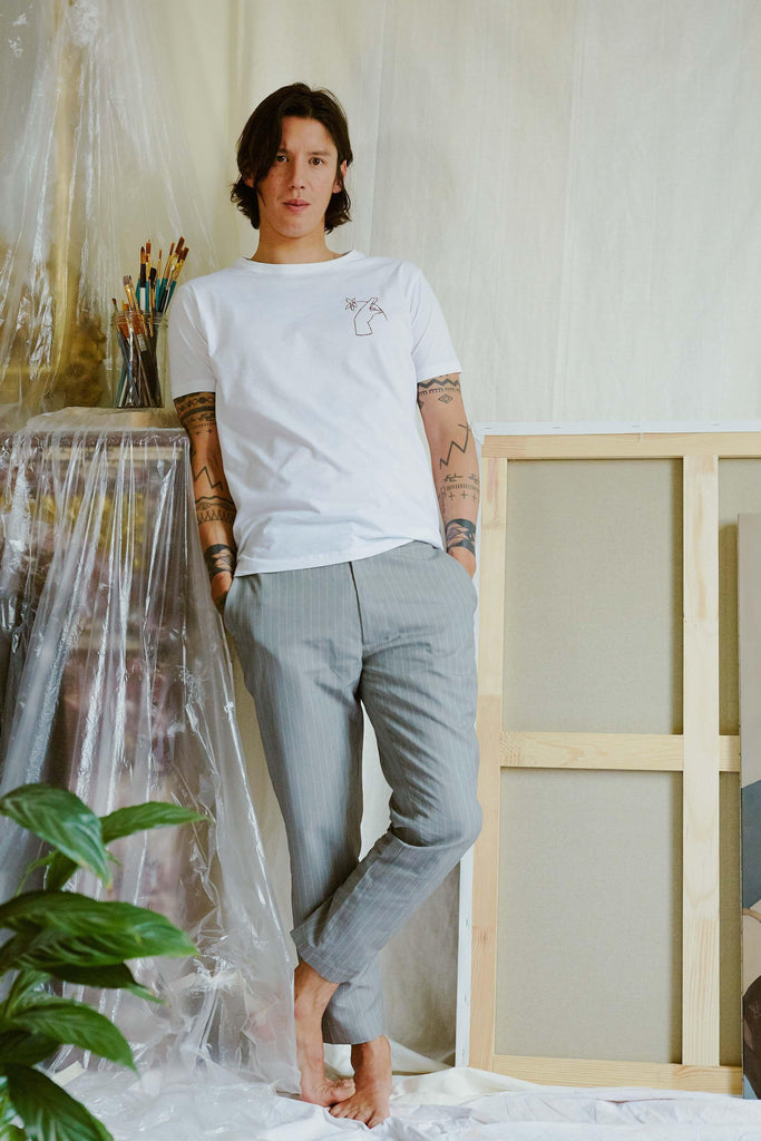 sustainable-Noyoco x Diane Organic Cotton T-shirt in White-noyoco-Kool and Konscious