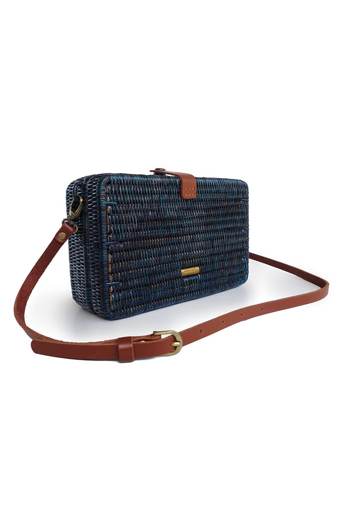 Syuti One Artisan Rattan Bag in Navy Blue with Brown Handle