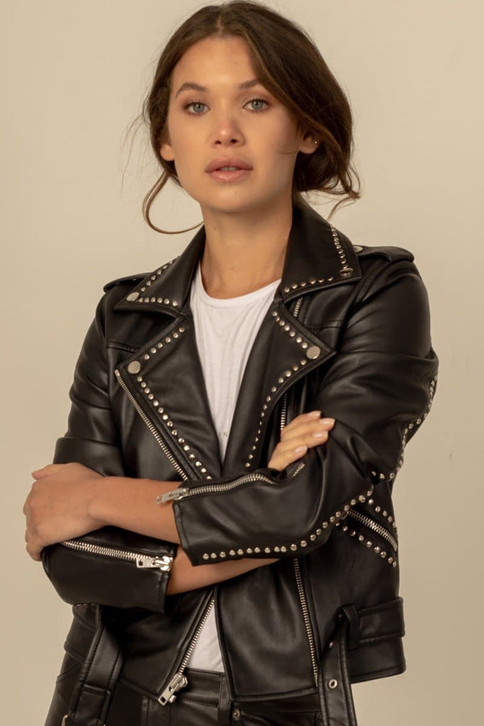 Isabella Vegan Faux Leather Biker Jacket in Black